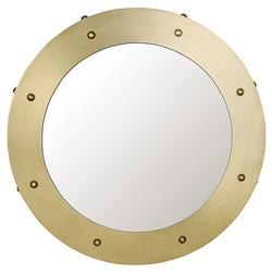 Xavier Modern Antique Brass Round Metal Mirror - 26D | Kathy Kuo Home