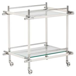 Yanna Modern Classic White Leather Silver Glass 2 Tier Bar Cart | Kathy Kuo Home