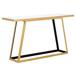 Yasmin Hollywood Regency Geometric Gold Open Pedestal Mirror Top Console Table | Kathy Kuo Home
