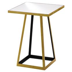 Yasmin Hollywood Regency Gold Square Open Pedestal Mirror Top Side Table | Kathy Kuo Home