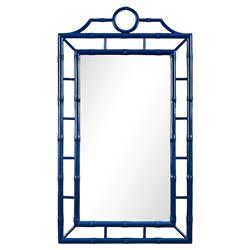 Ye Global Bazaar Navy Blue Lacquer Bamboo Chinoiserie Wall Mirror | Kathy Kuo Home