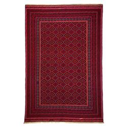 Yeats Vibrant Red Flat Woven Wool Rug - 6'3 x 9'6 | Kathy Kuo Home