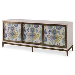 Yen Global Modern Blue Ikat White Wash Cabinet | Kathy Kuo Home