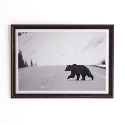 Yosemite Modern Classic Grizzly Bear Crossing Framed Road Photography | Kathy Kuo Home