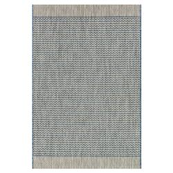 Yucatec Bazaar Grey Blue Zig Zag Outdoor Rug - 3'11x5'10 | Kathy Kuo Home