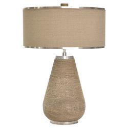 Yvaine Coastal Beach Seagrass Rope Stainless Steel Table Lamp | Kathy Kuo Home