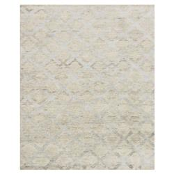 Zain Hollywood Silver Diamond Beige Linen Rug - 4x6 | Kathy Kuo Home