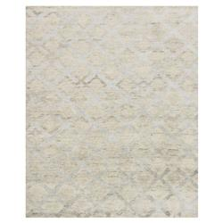 Zain Hollywood Silver Diamond Beige Linen Rug - 7'9x9'9 | Kathy Kuo Home