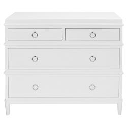 Zanna Modern Classic 4 Drawer Grey Lacquer Dresser | Kathy Kuo Home