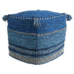 Zayn Global Bazaar Removable Cover Blue Cotton Square Pouf | Kathy Kuo Home