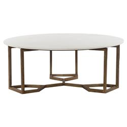 Zia Modern Geometric Gold Frame Round White Marble Top Coffee Table | Kathy Kuo Home