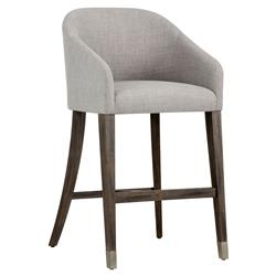 Ziegler Modern Classic Grey Cushioned Barrel Back Wood Bar Stool | Kathy Kuo Home