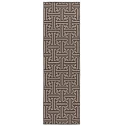 "Zimbia Graphic Pattern Outdoor Black Taupe Rug - 2'3""x7'9"" 