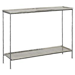 Zina Industrial Loft 2 Tier Silver Tray Top Forged Iron Console Table | Kathy Kuo Home
