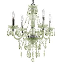 Zoe Global Bazaar Seafoam Green 4 Light Mini Chandelier | Kathy Kuo Home