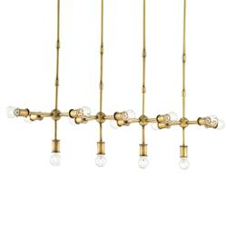 Zoltan Industrial Modern Brass Pipe Island Chandelier | Kathy Kuo Home