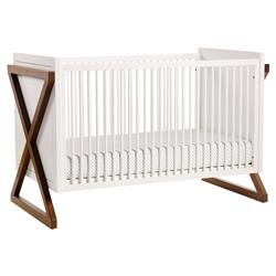 ducduc Campaign Modern White Natural Walnut Crib | Kathy Kuo Home