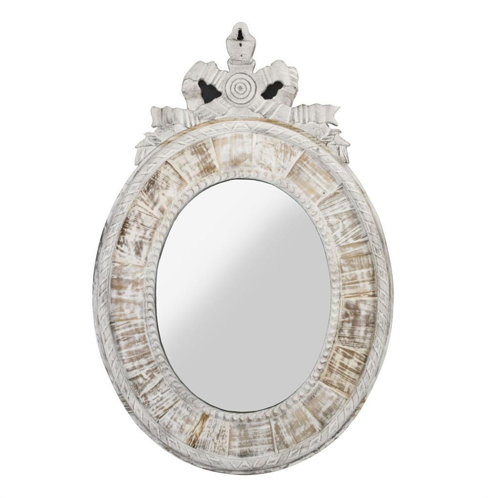 Judy french country oval white wash mirror kathy kuo home for French country white