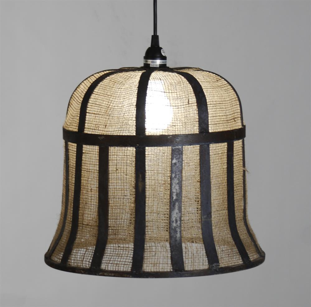 Monterrey industrial loft burlap rustic pendant light for Burlap lights