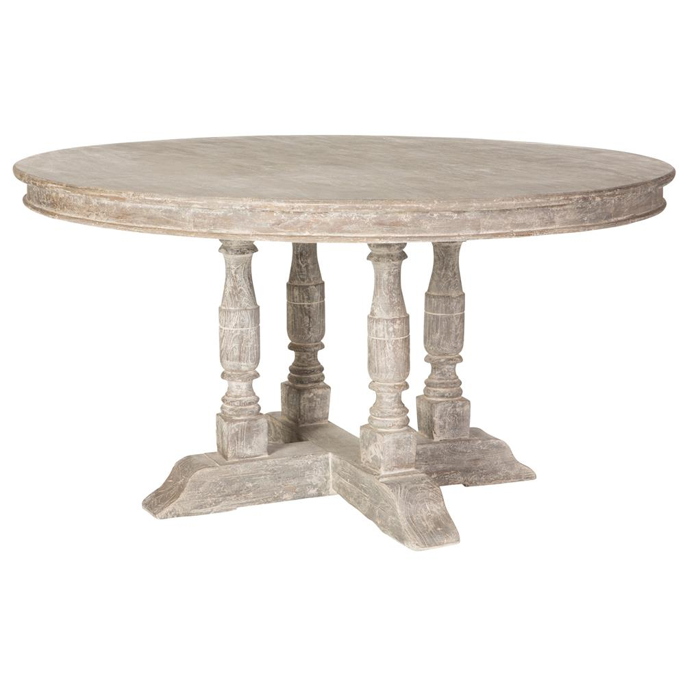 Roulette French Country Distressed Grey Outdoor Dining Table Kathy Kuo Home