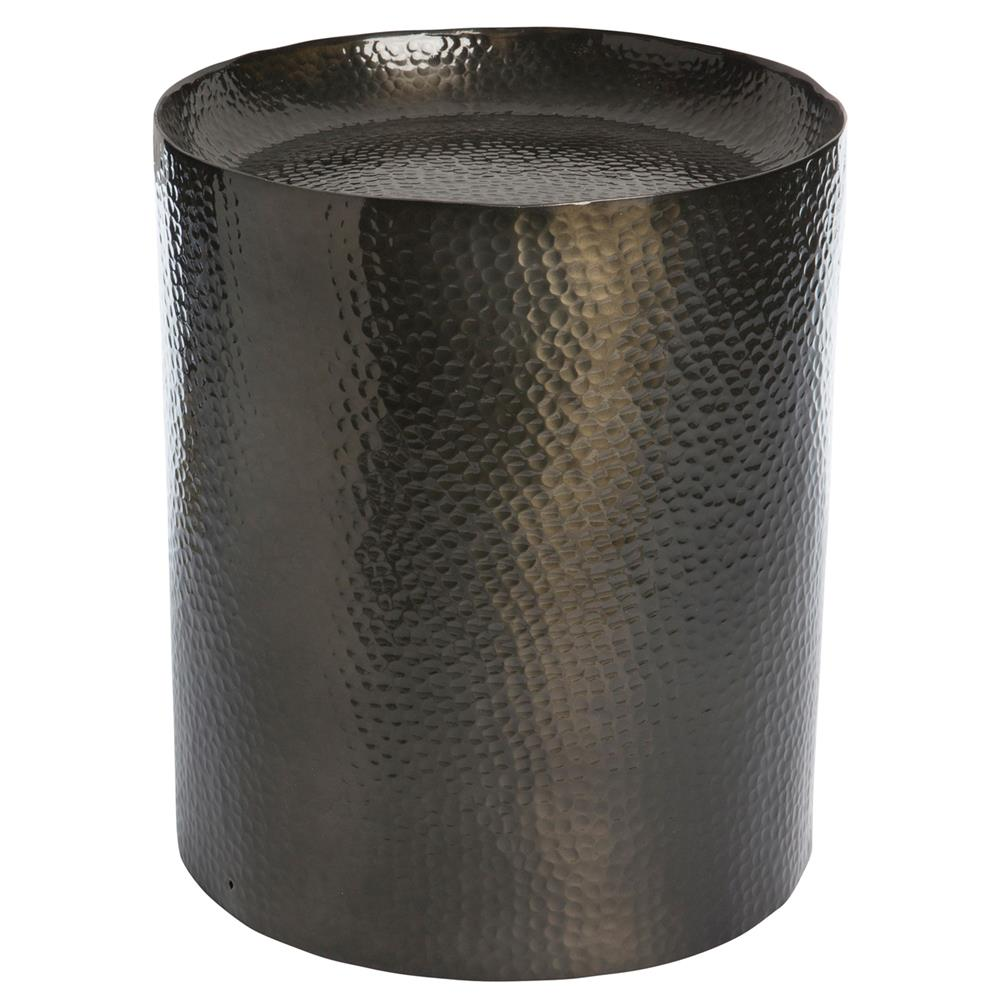Milk Pail Industrial Loft Black Hammered Metal Side Table | Kathy Kuo Home