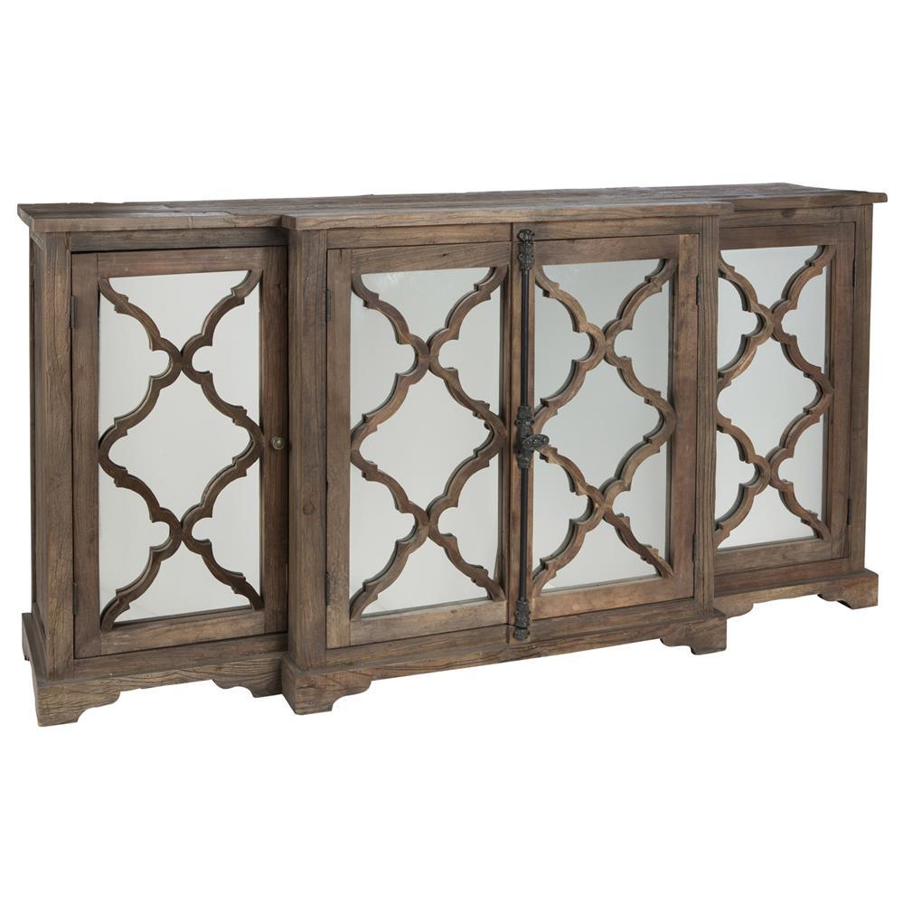 Mirrored Glass Buffet ~ Wayside wood buffet sideboard cabinet with glass paneled