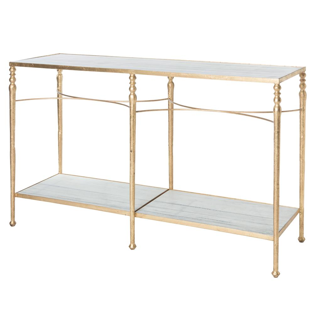 Grauman Hollywood Regency Classic Gold Marble Console Table | Kathy Kuo  Home ...