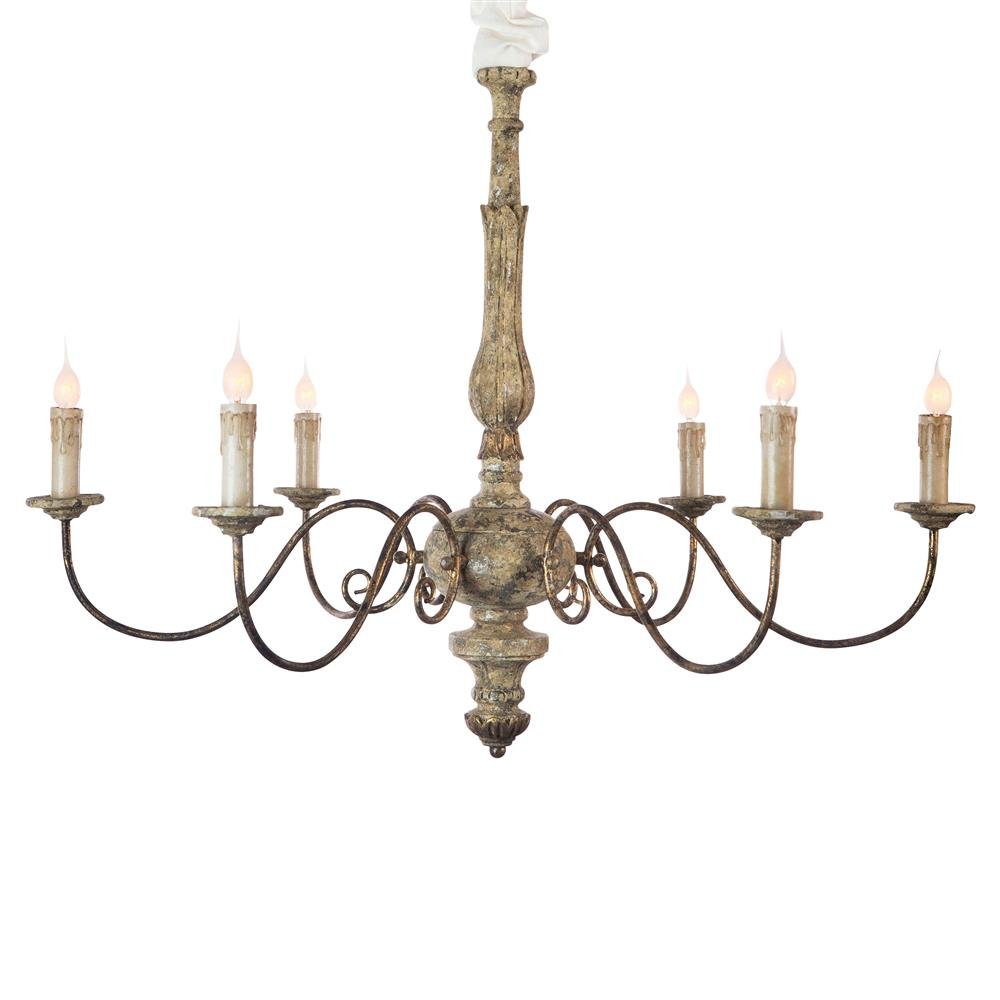Avignon French Country Rustic Gold Iron Scroll Chandelier Kathy Kuo Home