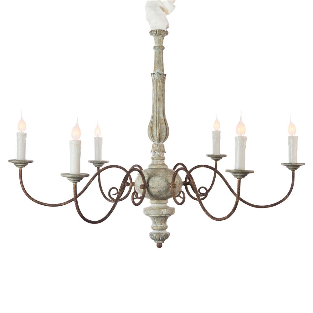 Avignon French Country Blue Cream Iron Scroll Chandelier