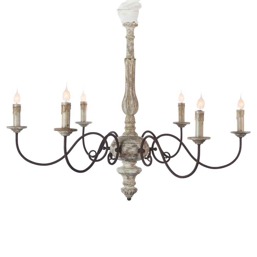 Avignon french country weathered iron scroll chandelier French country chandelier