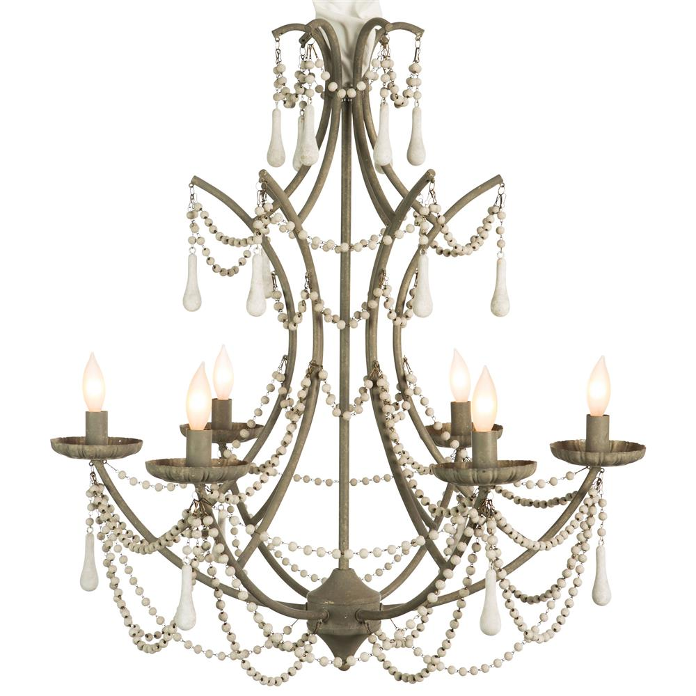 Trendy Chandeliers: Bourdeilles French Country White Beaded Rustic Chic Chandelier