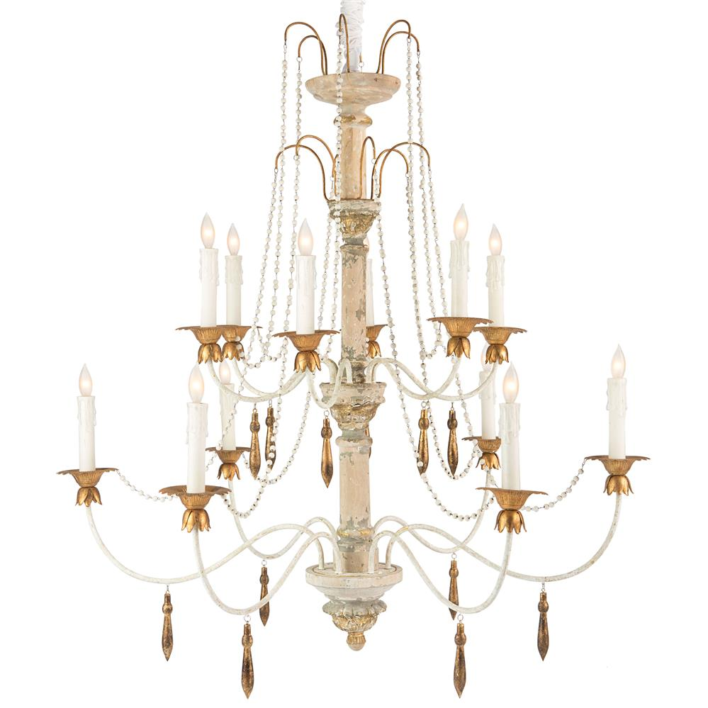 Fontaine french country 2 tier distressed white beaded French country chandelier