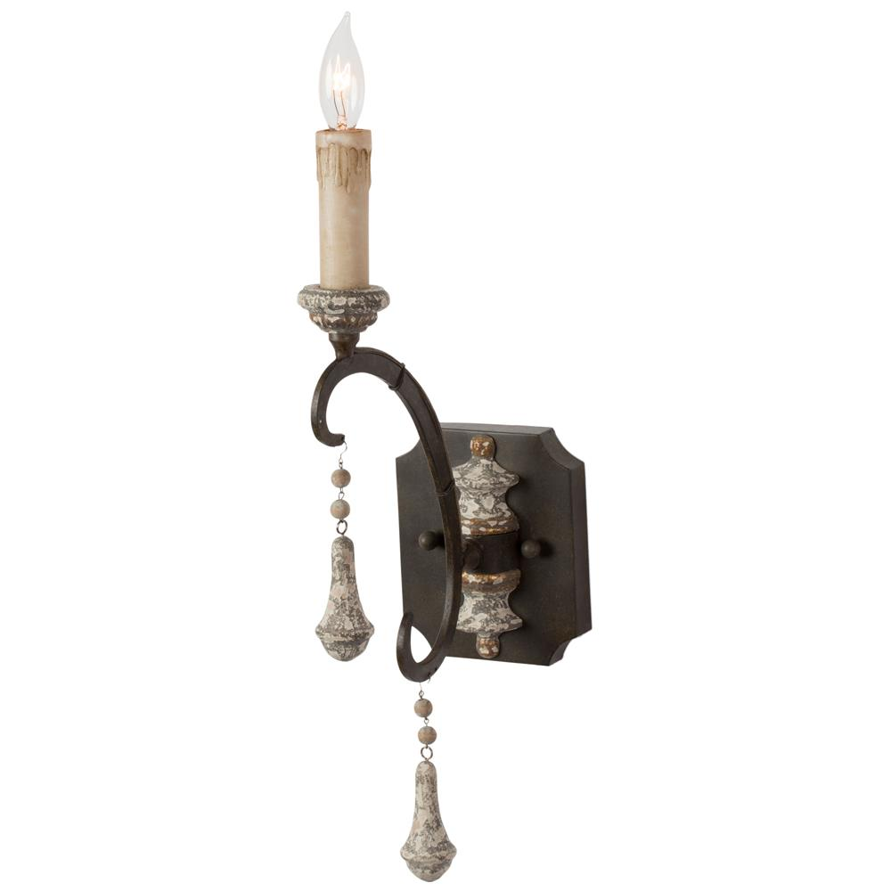 French Iron Wall Sconces : Epoch French Country Iron Grey Single Wall Sconce - Pair Kathy Kuo Home