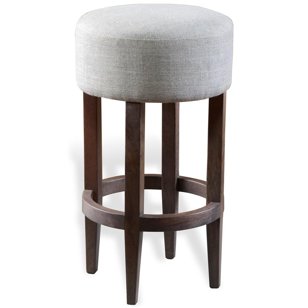 Barlow Modern Grey Linen Backless Bar Stool Kathy Kuo Home