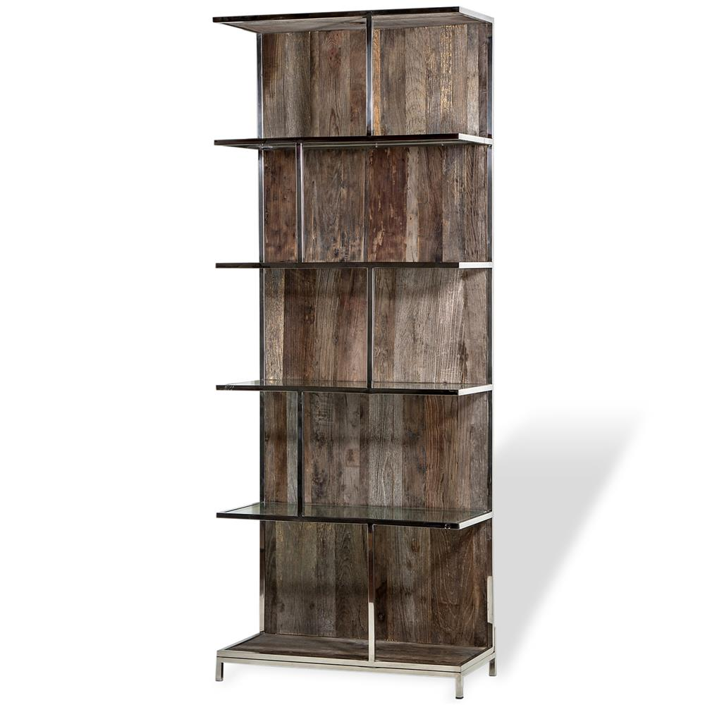 Nova Industrial Loft Recycled Elm Wood Metal Bookcase  Kathy Kuo Home