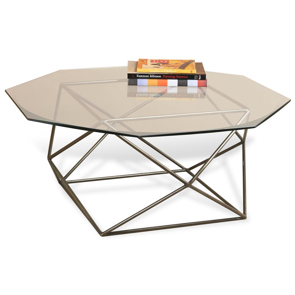 Alexis geometric antique brass octagonal coffee table for Geometric coffee table
