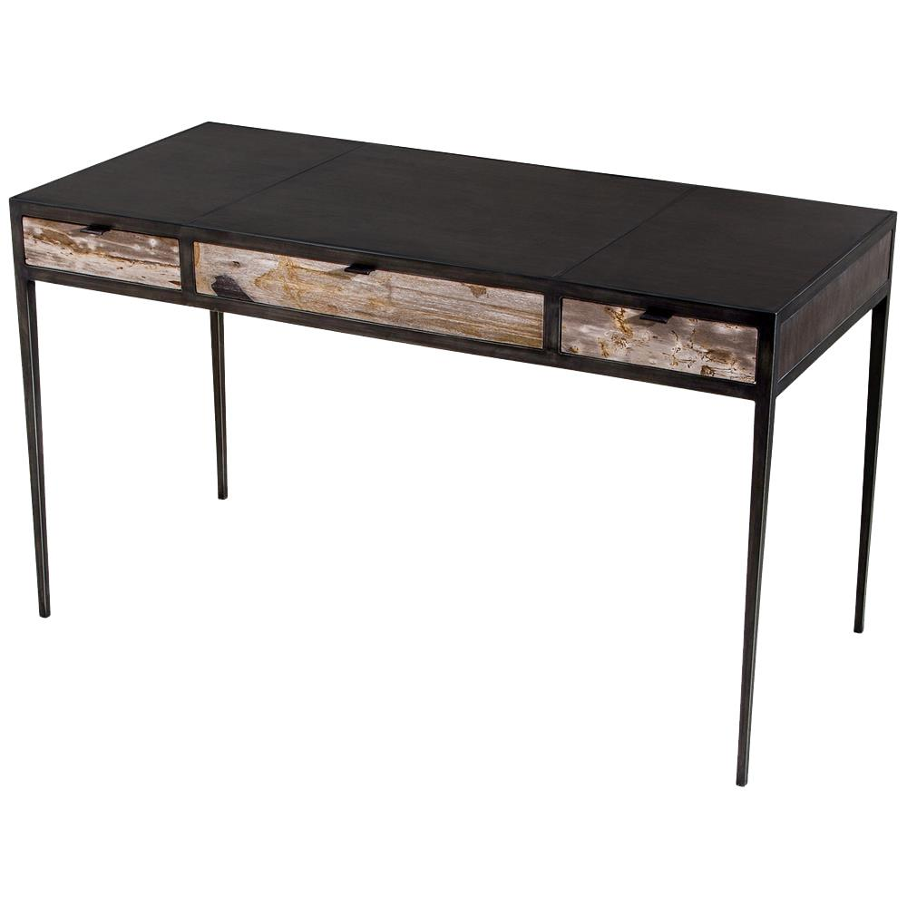 Jax industrial metal dark wood desk kathy kuo home