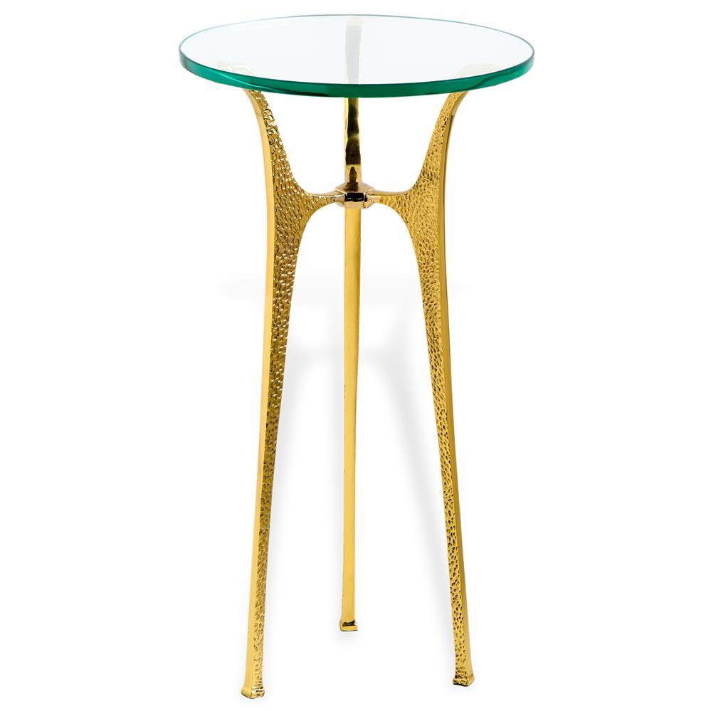 ... Hollywood Regency Round Gold Glass Side End Table | Kathy Kuo Home