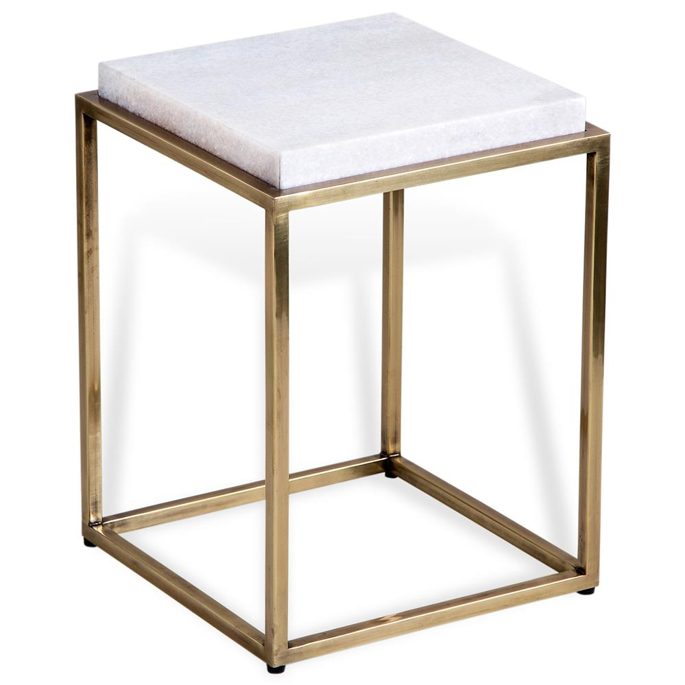 Carlton hollywood regency square white marble antique for White end table