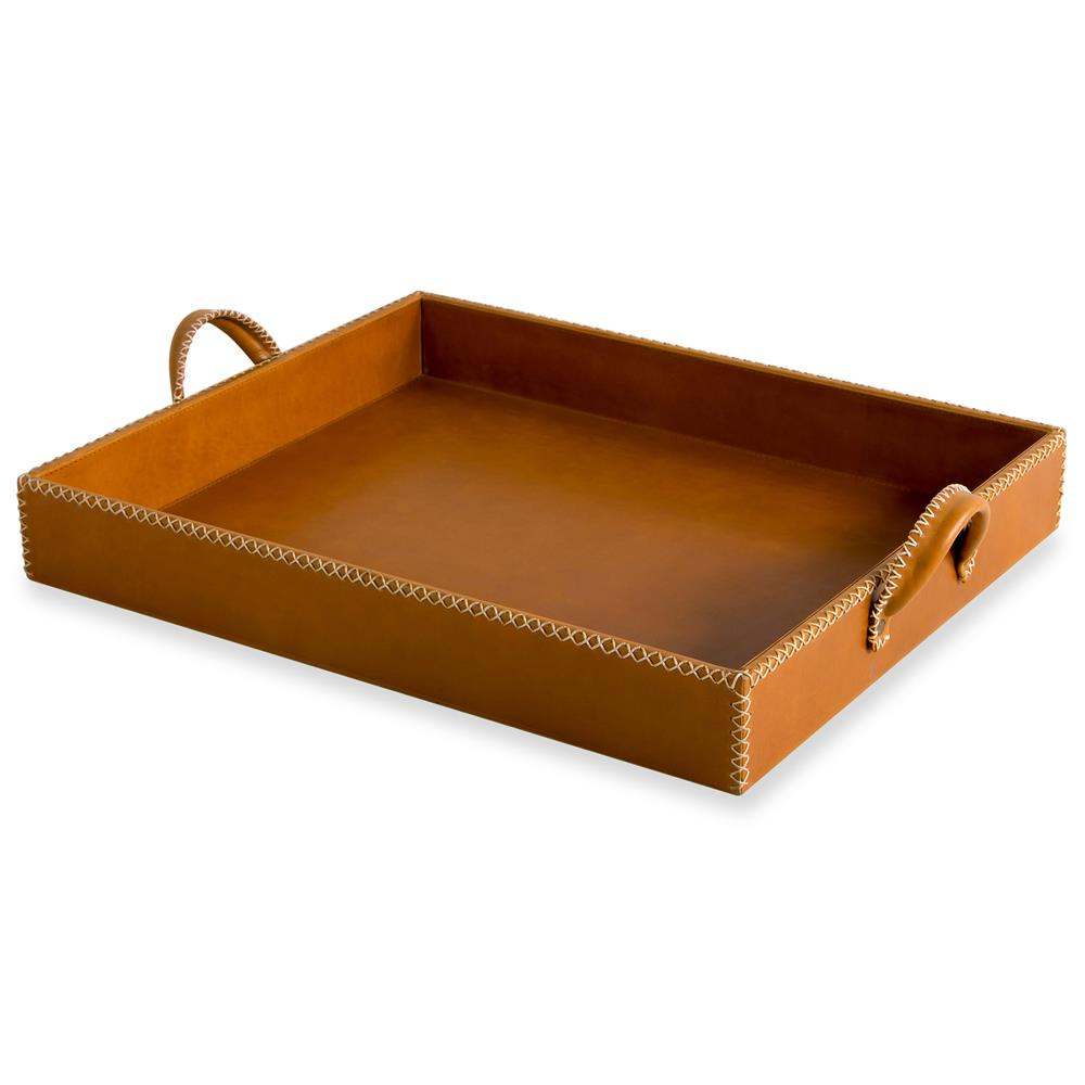 Timothy Rustic Lodge Large Tan Leather Tray Kathy Kuo Home