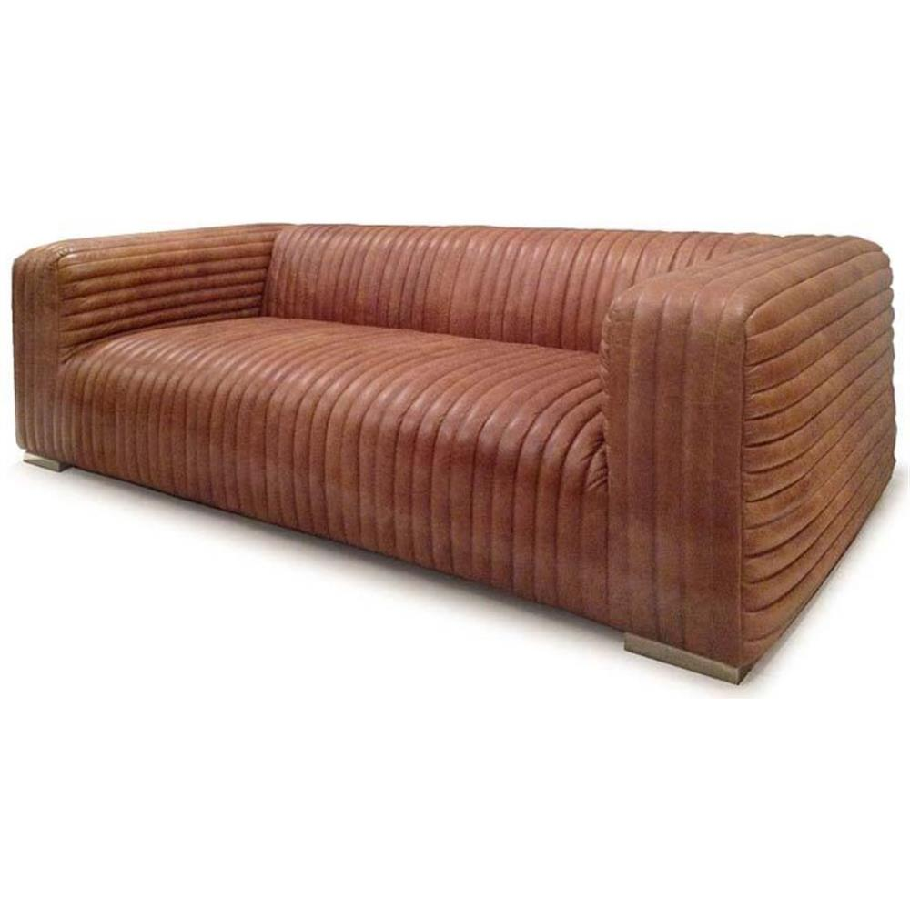 stanley rustic masculine cognac brown leather piped sofa kathy kuo