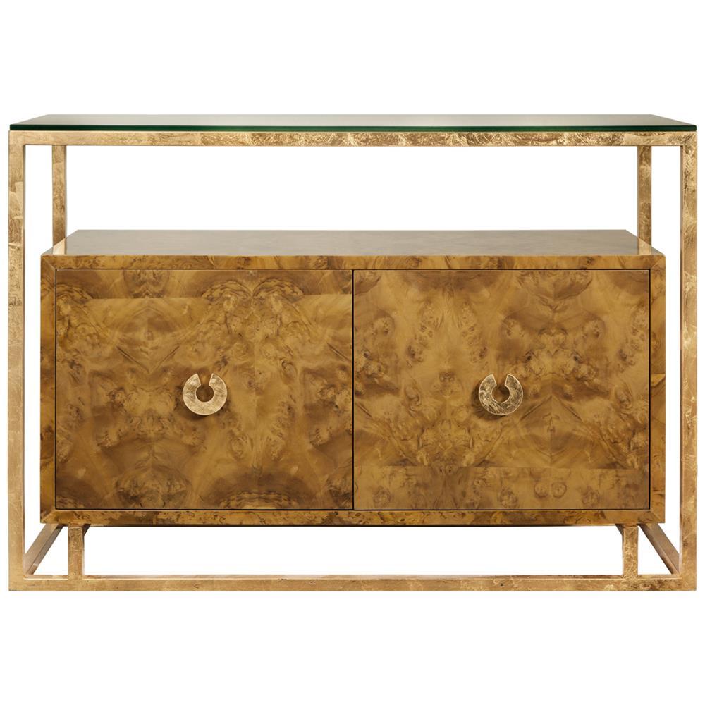 Nicholas Hollywood Regency Burl Wood Gold Media Cabinet Buffet | Kathy Kuo  Home ...