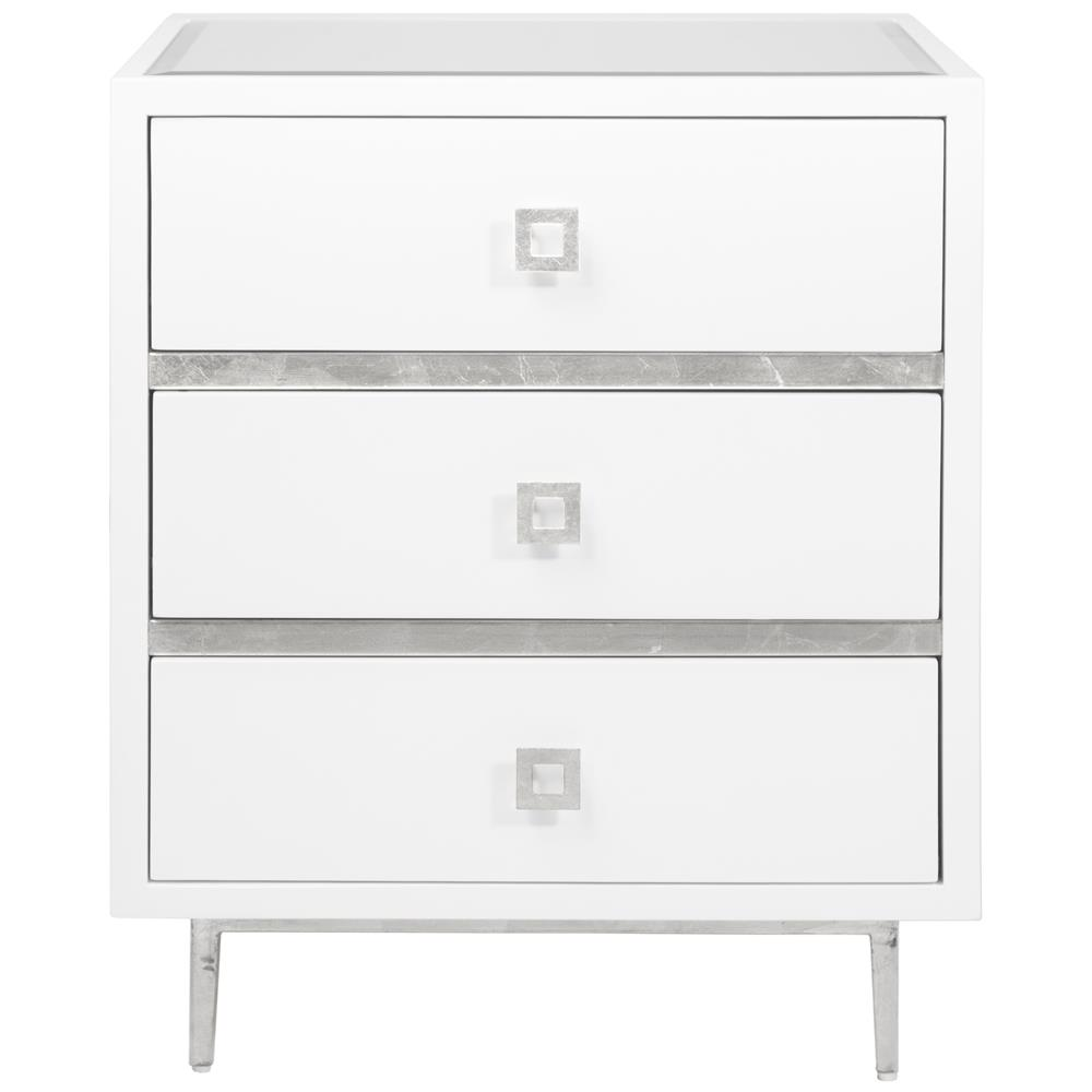 Bartok Hollywood Regency White Lacquer Silver Leaf Nightstand