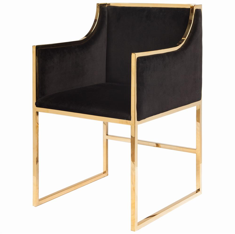 Anastasia Hollywood Regency Black Velvet Brass Frame
