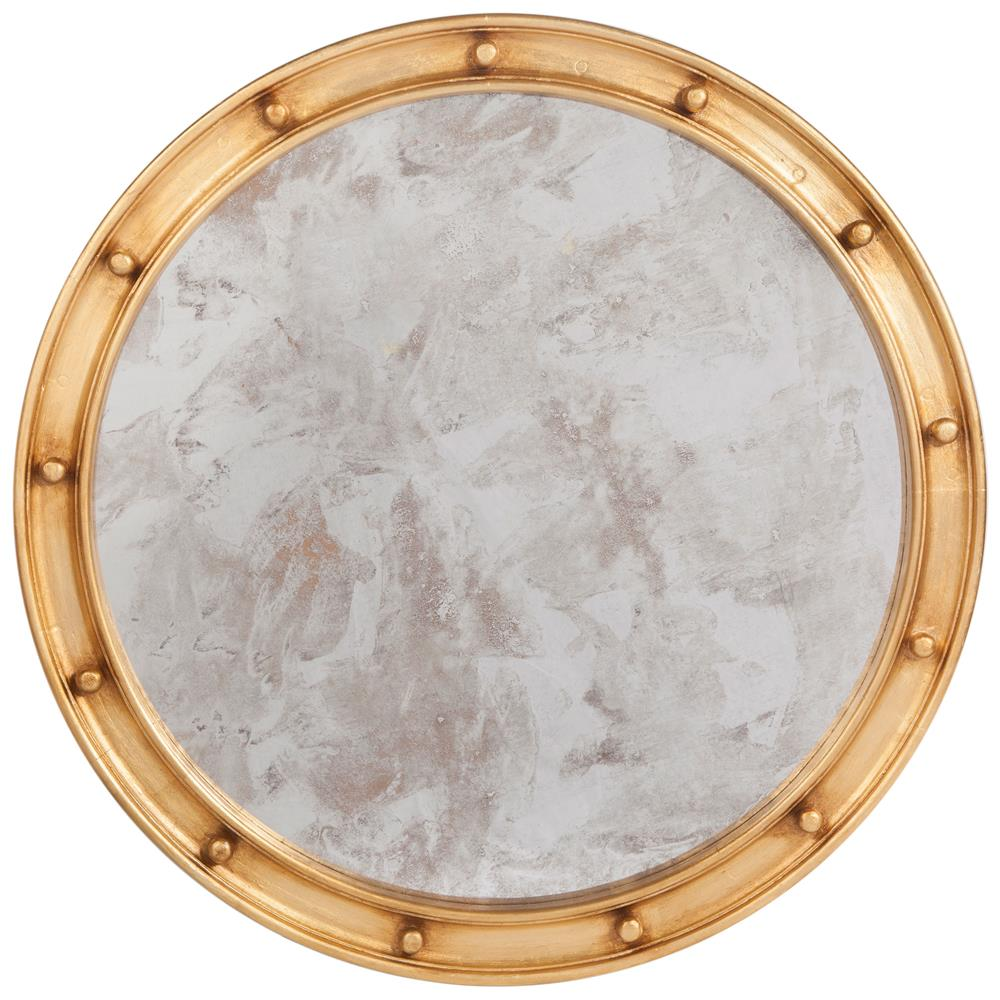 Jack hollywood regency large round antique gold leaf mirror for Round mirror