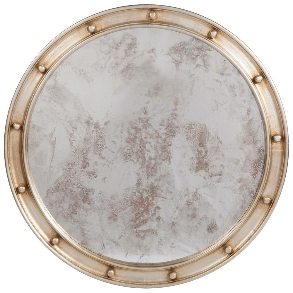 Jack hollywood regency large round antique silver leaf for Big silver mirror