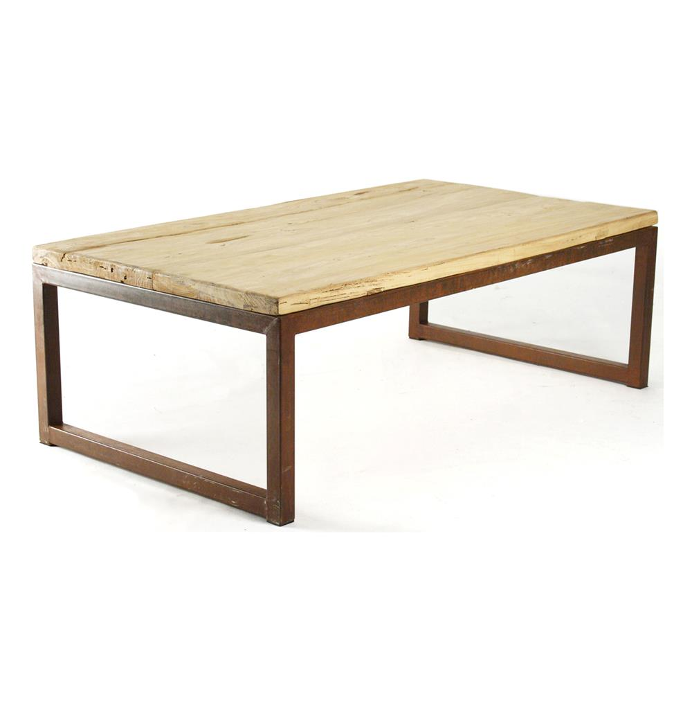 Modern Rustic Reclaimed Elm Wood Rectangle Coffee Table