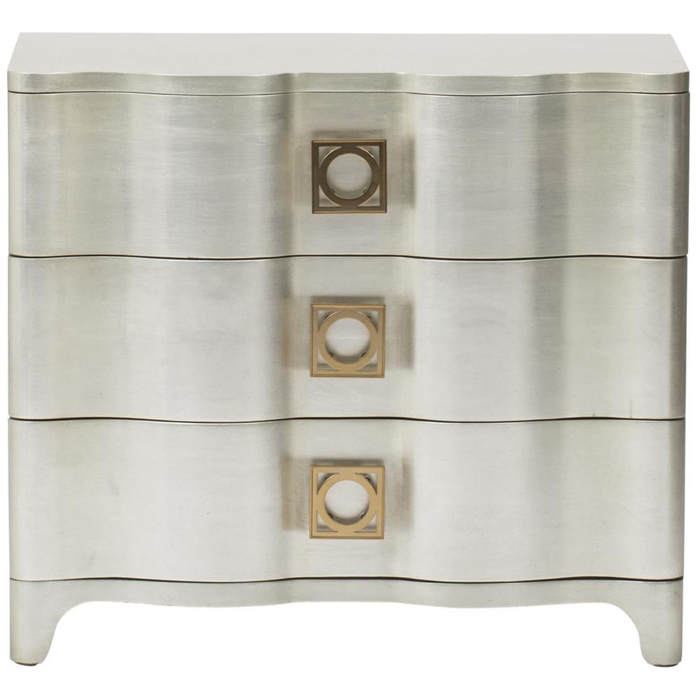 Oriana Modern Classic Antique Silver Leaf 3 Drawer Nightstand