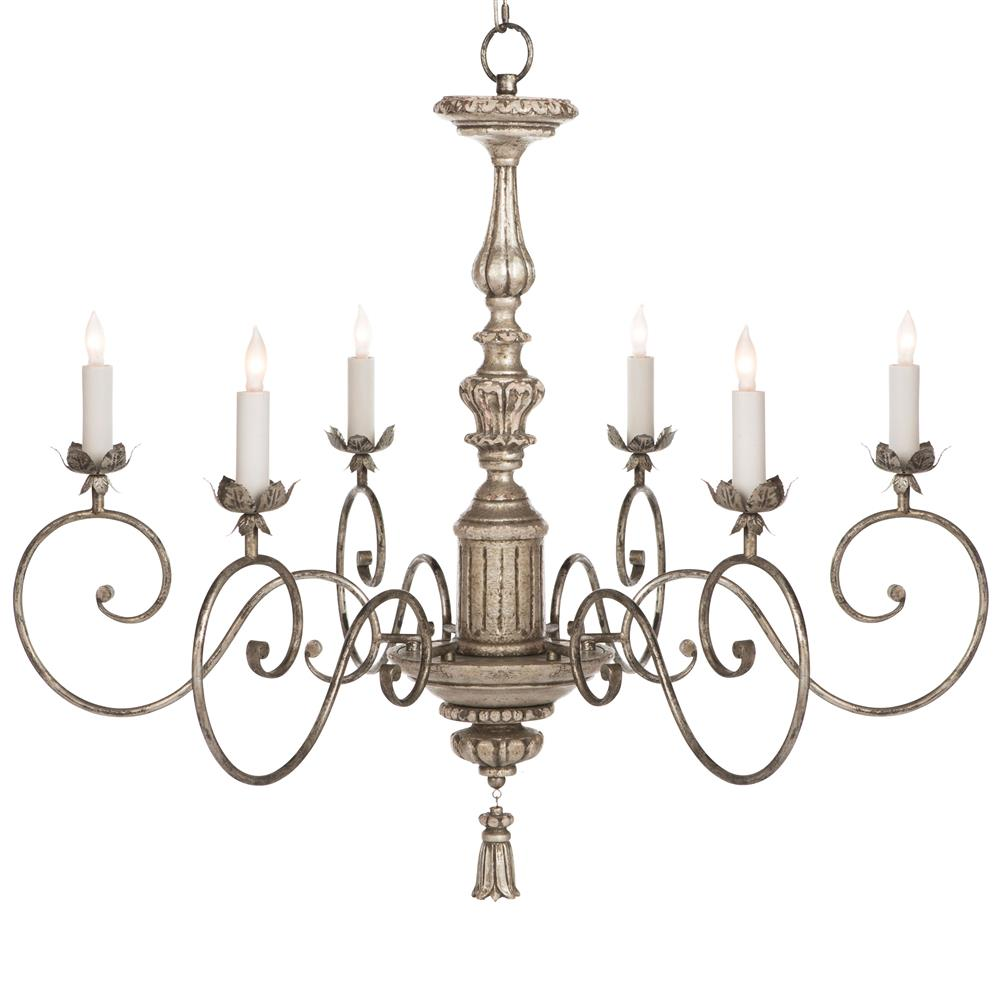 Raphael French Country Antique Silver Leaf Chandelier : Kathy Kuo Home