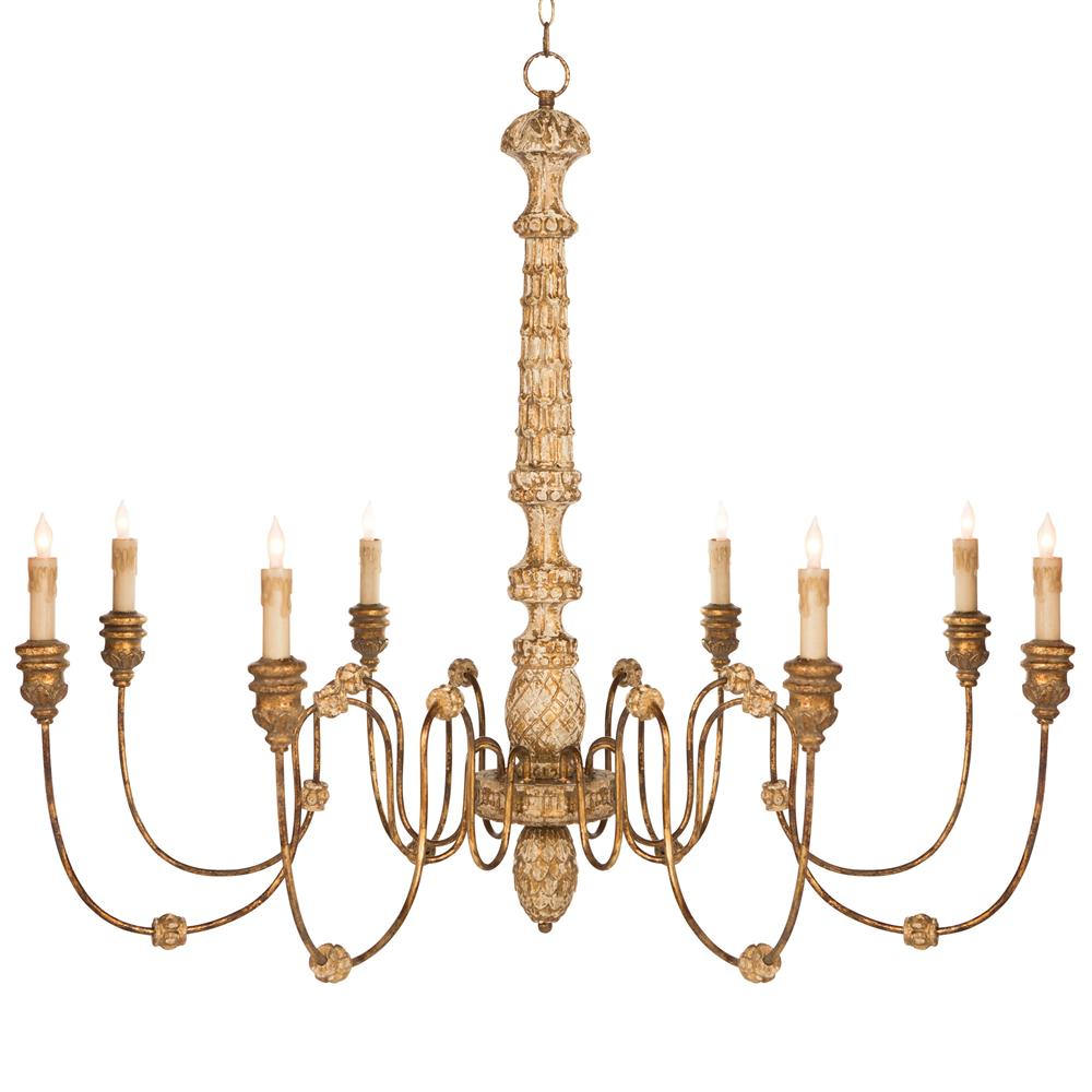 Kylian French Country Hand Carved Rustic Gold 8 Light